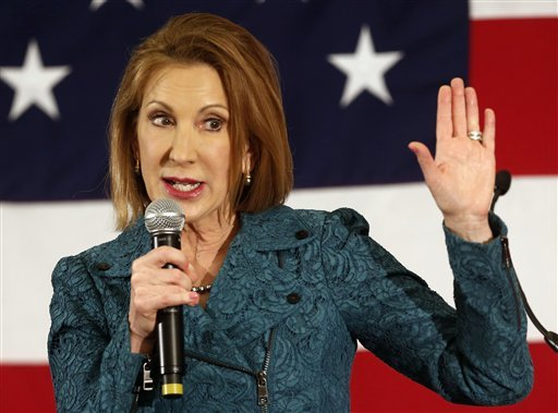 In this April 18, 2015 file photo, Carly Fiorina speaks at the Republican Leadership Summit in Nashua, N.H. The former technology executive formally entered the 2016 presidential race on Monday. (AP Photo/Jim Cole)