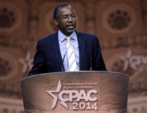 This March 8, 2014, file photo shows Dr. Ben Carson, professor emeritus at Johns Hopkins School of Medicine, speaking at the Conservative Political Action Conference annual meeting in National Harbor, Md. Carson, a retired neurosurgeon turned conservative