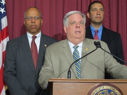 Maryland Gov. Larry Hogan announces an end to a state of emergency in Baltimore during a news conference, Wednesday, May 6, 2015, in Baltimore. (AP Photo/Brian Witte)