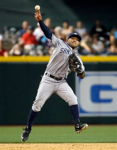 San Diego Padres shortstop Alexi Amarista fields a ground out by Arizona Diamondbacks' Nick Ahmed during the fifth inning of a baseball game, Thursday, May 7, 2015, in Phoenix. (AP Photo/Matt York)