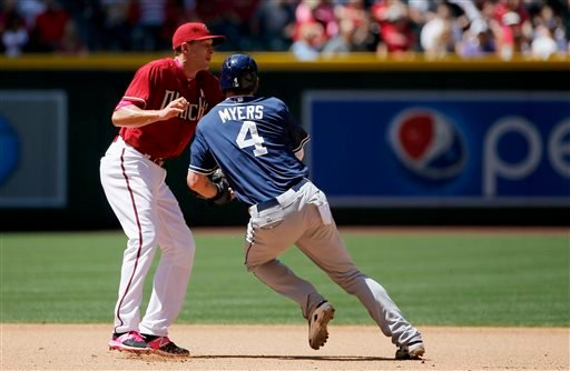 San Diego Padres' Wil Myers (4) collides with Arizona Diamondbacks' Nick Ahmed, left, as he attempts to run from second base to third base during the fourth inning of a baseball game, Sunday, May 10, 2015, in Phoenix. (AP Photo/Ross D. Franklin)
