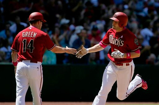 Arizona Diamondbacks' A.J. Pollock, right, shakes hands with third base coach Andy Green (14) as he rounds the bases after hitting a home run against the San Diego Padres during the third inning of a baseball game Sunday, May 10, 2015, in Phoenix. (AP Pho