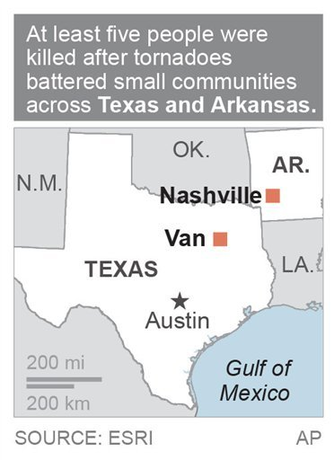 Map locates Van, Texas and Nashville Arkansas where tornadoes were responsible for at least five deaths; 1c x 2 1/4 inches; 46.5 mm x 57 mm