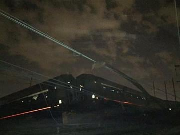 © (AP Photo/Paul Cheung). An Amtrak train crashed Tuesday, May 12, 2015, near Philadelphia. Train 188 was traveling from Washington to New York City.