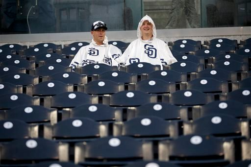 San Diego Padres wait during a rain delay in a baseball game between the Padres and the Washington Nationals on Thursday, May 14, 2015, in San Diego.