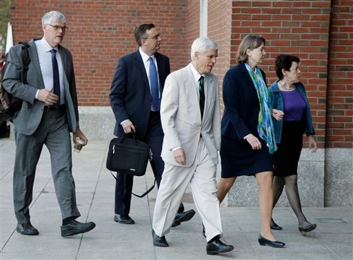 Members of the legal defense team for convicted Boston Marathon bomber Dzhokhar Tsarnaev, from the left, Timothy Watkins, William Fick, David Bruck, Judy Clarke, and Miriam Conrad arrive at federal court Thursday, May 14, 2015, in Boston. Jurors continue