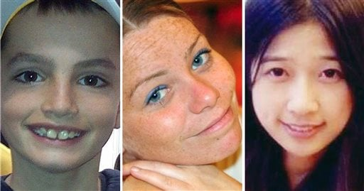 This combination of undated photos provided by their families shows, from left, Martin Richard, 8, Krystle Campbell, 29, and Lingzi Lu, a Boston University graduate student.
