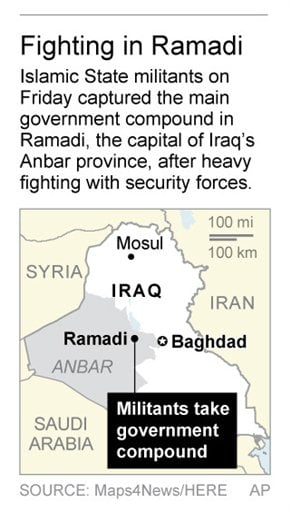 Map locates Ramadi in Iraq, where Islamic State militants captured the main government building on Friday; 1c x 3 inches; 46.5 mm x 76 mm