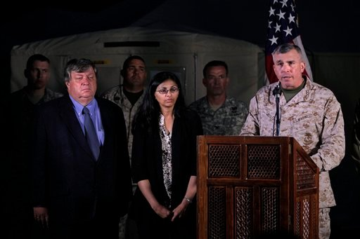 "Lt. Gen. John E. Wissler, right, speaks during a press meet in Kathmandu, Nepal, Friday, May 15, 2015. Nepalese rescuers on Friday found three bodies near the wreckage of a U.S. Marine helicopter, identified as UH-1 ""Huey"", that disappeared earlier this w"