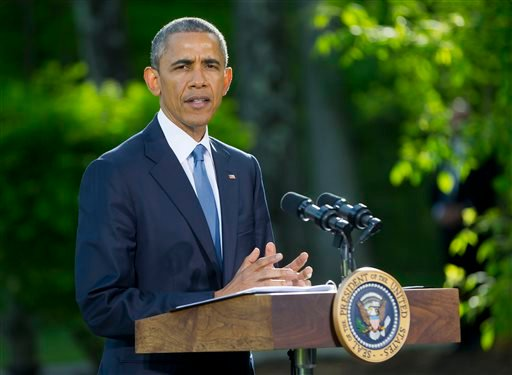 In a Thursday, May 14, 2015 file photo, President Barack Obama speaks during a news conference after meeting with Gulf Cooperation Council leaders and delegations at Camp David in Maryland. In a surprise announcement on Monday, May 18, 2015, coming nine