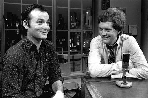 """In this Feb. 1, 1982 file photo, host David Letterman, right, and guest Bill Murray appear at the taping of the debut of """"Late Night with David Letterman"""" in New York. Murray's 44th and final appearance Tuesday, May 19, 2015, will mark the end of late-nig"""