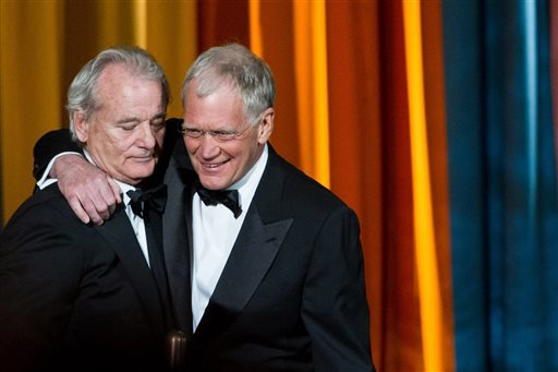 """In this March 26, 2011 file photo, Bill Murray, left, and David Letterman appear at the """"The Comedy Awards"""" presented by Comedy Central in New York. After 33 years in late night and 22 years hosting CBS' """"Late Show,"""" Letterman will retire on May 20. (AP P"""