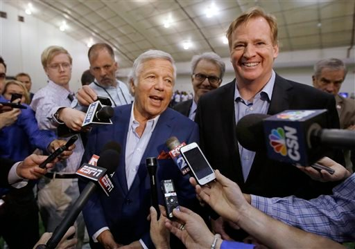 In this May 29, 2014, file photo, NFL Commissioner Roger Goodell, right, and New England Patriots owner Robert Kraft address members of the media during a football safety clinic for mothers at the team's facilities in Foxborough, Mass. Kraft and Goodell h