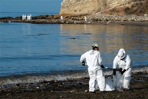 Clean up workers place shovels of oil-laden sand in bags while a larger group of workers begin clean up operations at Refugio State Beach, site of an oil spill, north of Goleta May 20, 2015. (AP Photo/Michael A. Mariant)