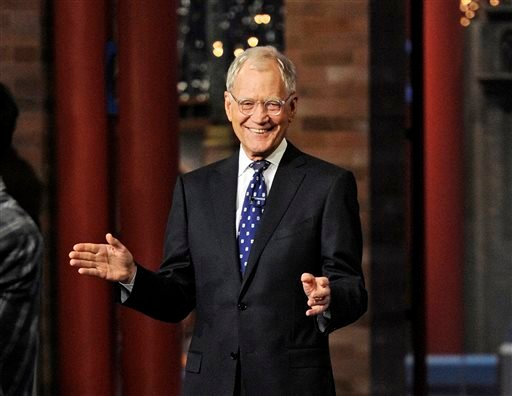 """In this image released by CBS, David Letterman appears during a taping of his final """"Late Show with David Letterman,"""" Wednesday, May 20, 2015 at the Ed Sullivan Theater in New York."""
