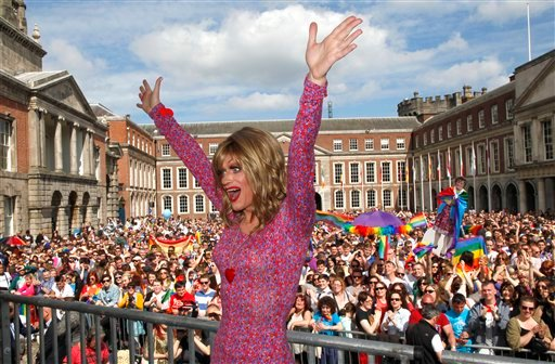 Rory O'Neill, known by the Drag persona Panti, celebrates with yes supporters at Dublin Castle, Ireland, Saturday, May 23, 2015. Ireland has voted resoundingly to legalize gay marriage in the world's first national vote on the issue, leaders on both sides