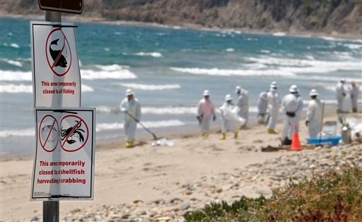 Signs marking beach closed to fishing and harvesting are seen while cleanup crews in the background shovel and rake contaminated sand into bags at El Capitan State Beach, north of Goleta, Calif., Friday, May 22, 2015. Officials say the sheen of oil is now