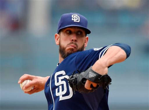 San Diego Padres starting pitcher James Shields throws to the plate during the first inning of a baseball game against the Los Angeles Dodgers, Sunday, May 24, 2015, in Los Angeles. (AP Photo/Mark J. Terrill)