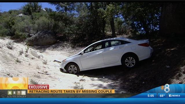 Vehicle was found wedged in a sandy creek bed