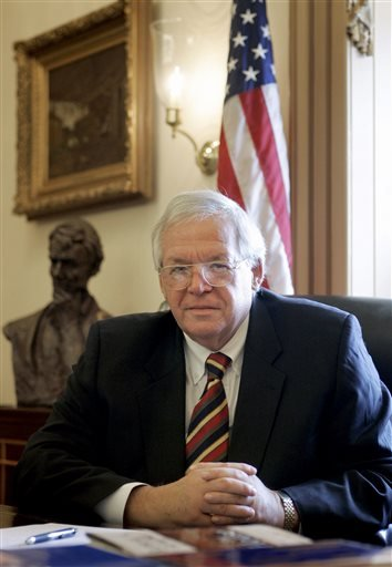 In this June 15, 2007 file photo, House Speaker Dennis Hastert, R-Ill., sits for a portrait in his Capitol Hill office. On Thursday, May 28, 2015, federal prosecutors indicted Hastert, 73, on bank-related charges. (AP Photo/Susan Walsh, File)