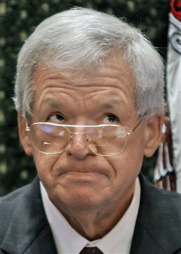 In this March, 5, 2008 file photo, former U.S. House Speaker Dennis Hastert is overcome with emotion while visiting the Illinois House of Representatives floor at the Illinois State Capitol in Springfield, Ill. Federal prosecutors indicted Hastert, 73, Th