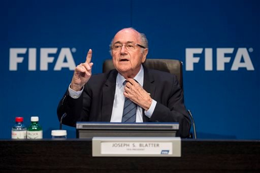 FIFA President Sepp Blatter speaks during a news conference following the FIFA Executive Committee meeting in Zurich, Switzerland, on Saturday, May 30, 2015. (Ennio Leanza/Keystone via AP)