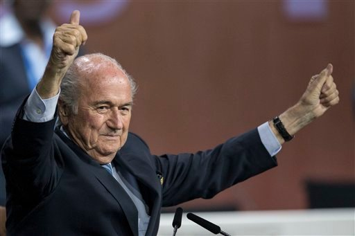 FIFA president Sepp Blatter after his election as President at the Hallenstadion in Zurich, Switzerland, Friday, May 29, 2015. Blatter has been re-elected as FIFA president for a fifth term, chosen to lead world soccer despite separate U.S. and Swiss crim