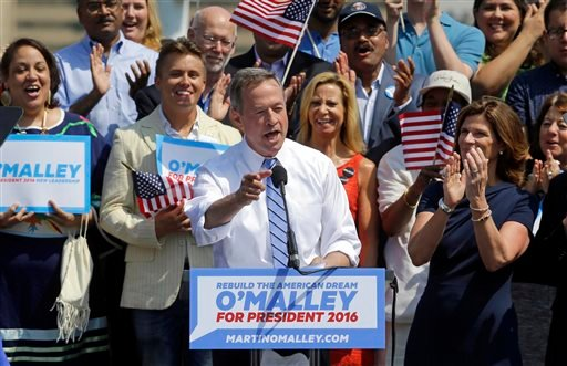 Former Maryland Gov. Martin O'Malley addresses supporters during an event to announce that he is entering the Democratic presidential race, Saturday, May 30, 2015, in Baltimore. O'Malley joined the Democratic presidential race with a longshot challenge to