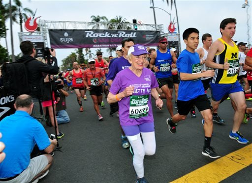 In this June 1, 2014 photo, Harriette Thompson, then 91, starts the 2014 Suja Rock 'n' Roll Marathon in San Diego, which she completed. Thompson is scheduled to compete in the 2015 edition in San Diego on Sunday, May 31, 2015.