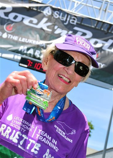 In this June 1, 2014 photo, Harriette Thompson, then 91, is seen at the finish line of the 2014 Suja Rock 'n' Roll Marathon in San Diego. Thompson is scheduled to compete in the 2015 edition in San Diego on Sunday, May 31, 2015. If she completes the race