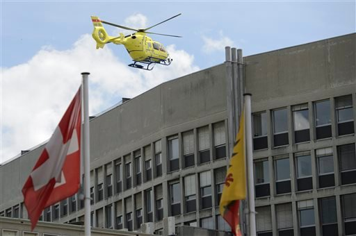 A helicopter takes off at the General Hospital in Geneva, Switzerland, Sunday, May 31 2015. Secretary of State John Kerry broke his leg in bike crash outside of Geneva on Sunday and called off the rest of a four-nation diplomatic trip. X-rays at the Swiss