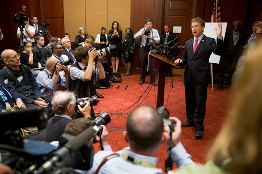 Republican presidential candidate, Sen. Rand Paul, R-Ky. speaks at a news conference on Capitol Hill in Washington, Tuesday, June 2, 2015, to call for the 28 classified pages of the 9-11 report to be declassified. Paul has been voicing his dissent in the