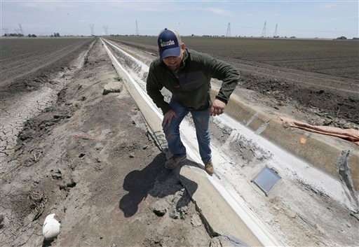 Ihis Monday, May 18, 2015, file photo, farmer Gino Celli climbs out of a irrigation canal that is covered in dried salt on a field he farms near Stockton, Calif. Moving to meet voluntary water conservation targets, dozens of farmers in the Sacramento-San