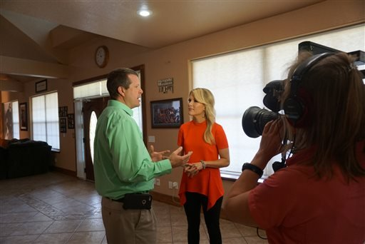 "This photo provided by FOX News shows, Jim Bob Duggar, left, of the TLC series ""19 Kids and Counting,"" before an interview speaking with FOX News Channel's Megyn Kelly June 3, 2015. (FOX News via AP)"