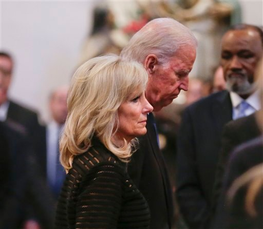 Vice President Joe Biden and his wife Jill Biden leave funeral services for former Delaware Attorney General Beau Biden, Saturday, June 6, 2015, at St. Anthony of Padua Church in Wilmington, Del. Biden, the Vice President Biden's eldest son, died at the a