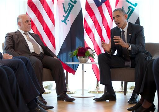US President Barack Obama and Iraqi Prime Minister Haider al-Abadi, left, participate in a bilateral meeting during the G-7 summit in Schloss Elmau hotel near Garmisch-Partenkirchen, southern Germany, Monday, June 8, 2015. (AP Photo/Carolyn Kaster)