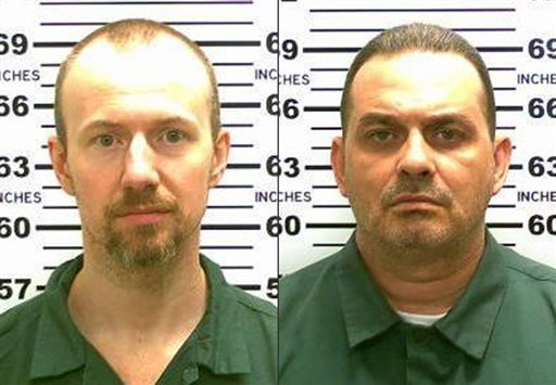 This combination made from photos released by the New York State Police shows inmates David Sweat, left, and Richard Matt. Authorities on Saturday, June 6, 2015 said Sweat, 34, and Matt, 48, both convicted murderers, escaped from the Clinton Correctional
