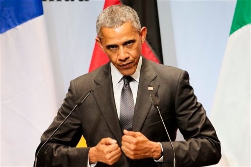 U.S. President Barack Obama speaks during a media conference at the conclusion of the G-7 summit at Schloss Elmau hotel near Garmisch-Partenkirchen, southern Germany, Monday, June 8, 2015. The two-day summit addressed such issues as climate change, povert