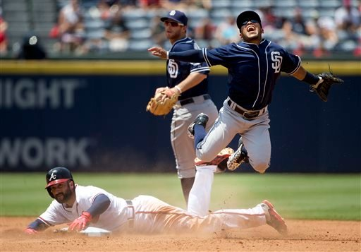 San Diego Padres shortstop Alexi Amarista, top right, is up ended by Atlanta Braves' Nick Markakis, bottom, as he turns a double play on a Juan Uribe ground ball in the sixth inning of a baseball game, Thursday, June 11, 2015, in Atlanta.