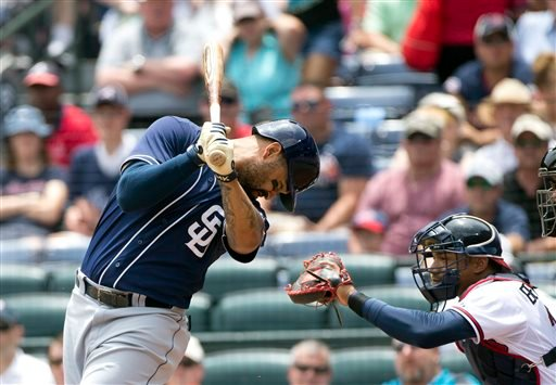San Diego Padres' Matt Kemp reacts as he is hit by a pitch from Atlanta Braves starter Juio Teheran during the first inning of a baseball game Thursday, June 11, 2015, in Atlanta.