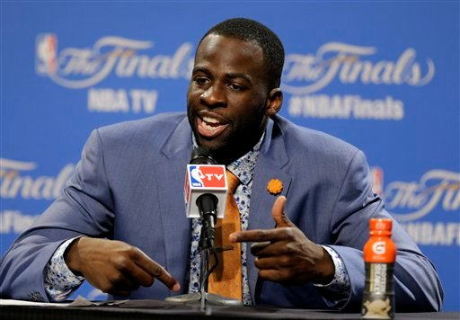 Golden State Warriors forward Draymond Green (23) answer a question during a press conference following Game 4 of basketball's NBA Finals in Cleveland, early Friday, June 12, 2015. The Warriors defeated the Cleveland Cavaliers 103-82 to tie the best-of-se
