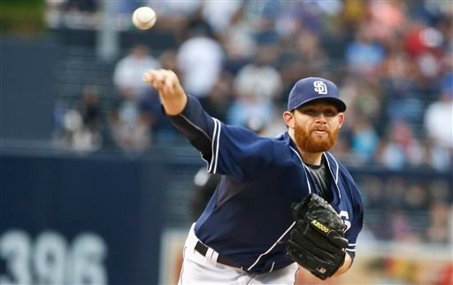 San Diego Padres starting pitcher Ian Kennedy works against the Los Angeles Dodgers in a baseball game Saturday, June 13, 2015, in San Diego. (AP Photo/Lenny Ignelzi)