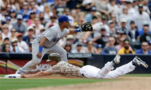 San Diego Padres' Will Venable slides in safely to third from first off a single by teammate Yangervis Solarte as Los Angeles Dodgers third baseman Alberto Callaspo awaits the throw during the seventh inning of a baseball game, Sunday, June 14, 2015, in S