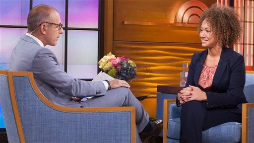 """In this image released by NBC News, former NAACP leader Rachel Dolezal appears on the """"Today"""" show during an interview with co-host Matt Lauer, Tuesday, June 16, 2015, in New York. Dolezal, who resigned as head of a NAACP chapter after her parents said sh"""