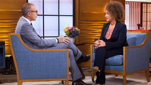 "In this image released by NBC News, former NAACP leader Rachel Dolezal appears on the ""Today"" show during an interview with co-host Matt Lauer, Tuesday, June 16, 2015, in New York. Dolezal, who resigned as head of a NAACP chapter after her parents said sh"