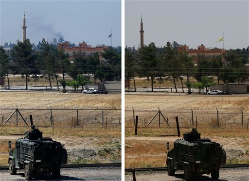 In this combo of two photos taken Tuesday, June 16, 2015 from the Turkish side of the border between Turkey and Syria, in Akcakale, southeastern Turkey, on the left photo a Turkish soldier on an armoured personnel carrier watches over the border the town