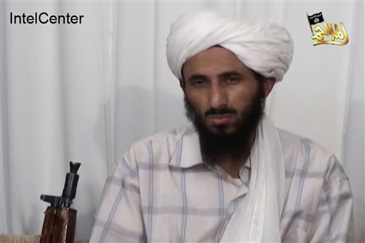 This image from video released Jan. 23, 2009, by al-Malahim Media Foundation and provided by IntelCenter on Dec. 30, 2009, shows the leader of Al-Qaida in the Arabian Peninsula, identified by the IntelCenter as Nasir al-Wahishi, in Yemen. Al-Qaida on Tues