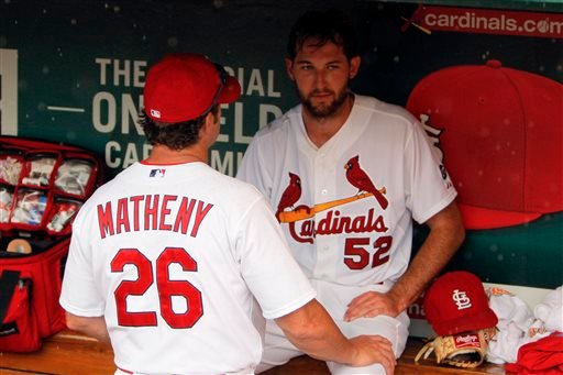 St. Louis Cardinals manager Mike Matheny, left, talks with starting pitcher Michael Wacha in the dugout during a rain delay in the seventh inning of a baseball against the Minnesota Twins, Tuesday, June 16, 2015, in St. Louis.