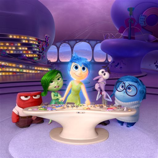 "In this file image released by Disney-Pixar, characters, from left, Anger, voiced by Lewis Black, Disgust, voiced by Mindy Kaling, Joy, voiced by Amy Poehler, Fear, voiced by Bill Hader, and Sadness, voiced by Phyllis Smith appear in a scene from ""Inside"