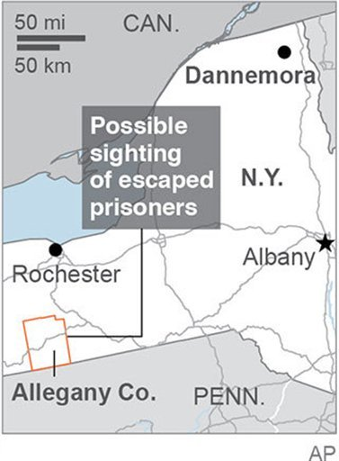 Map locates Allegany County, N.Y., where two escaped prisoners may have been seen; 1c x 2 inches; 46.5 mm x 50 mm;